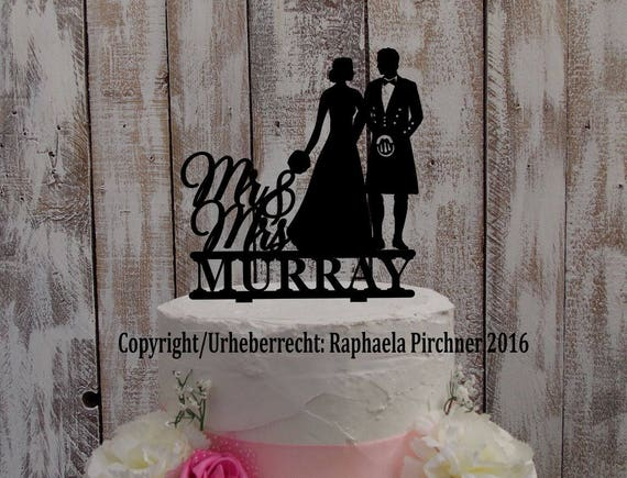 Cake Topper Kilt Brautpaar Nachname Schottenrock Schotte Etsy