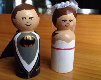 Batman wedding cake toppers wooden peg