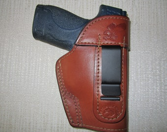 S/&W M/&P 40cal 4.25 inch Ambidextrous OWB Belt Slide Leather Holster Brown