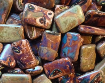 Czech 12 x 18mm Flat Rectangle Picasso Beads - 10 Pieces
