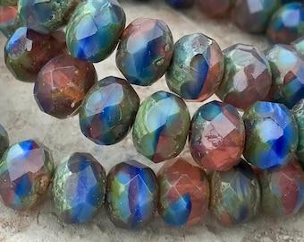 6 Corte Cuadrado De Mesa De Cristal Checo Perlas Azul//Latón