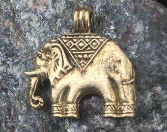 Brass Elephant Pendant or Charm - 1 1/8 Inch - 27 mm