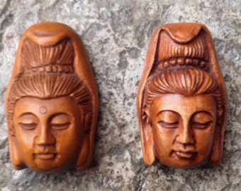 Quan Yin Buddha Bead - Hand Carved Boxwood - 1 1/8 Inch - 30 mm