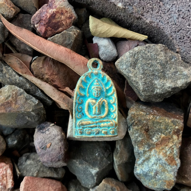 1 116 Inches Brass Buddha Pendant -Turquoise Blue Patina from Thailand 26 mm