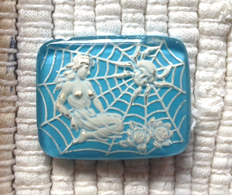 Vintage German Reverse Intaglio Glass Cabochon  Blue and image 0