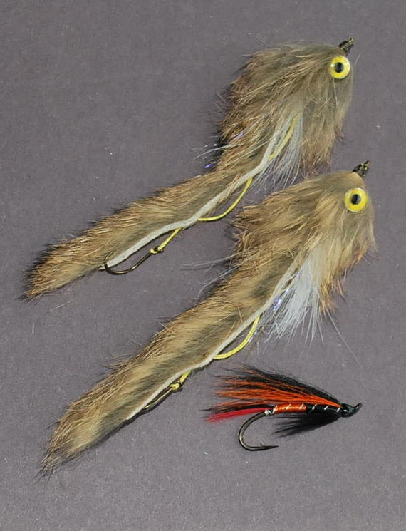 String Leech, Articulated; Yellow Barbell Eye Tan Variant, Black n Red color band, Tan variant sewn wing, size 4, 2 flies