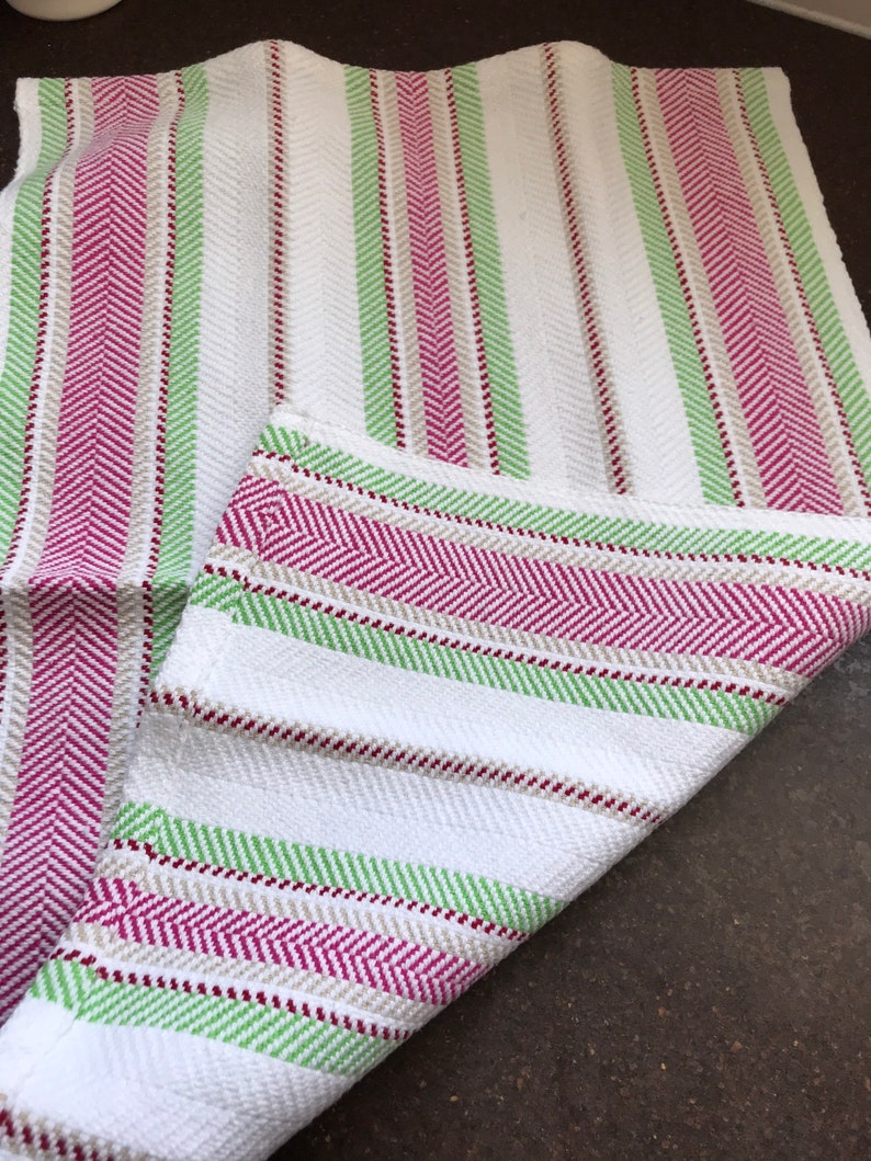 Hot Pink Red Watermelon! Handwoven Cotton Hand Towel Bread Cover Lime Green Great Hostess Gift White Tan