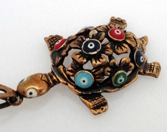 Hand made Aged copper necklace - Turtle