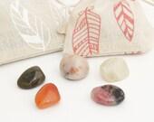 fertility semi precious stones, set of 5 gemstones, fertility, moonstone, carnelian, sunstone, rose quartz, rhodonite