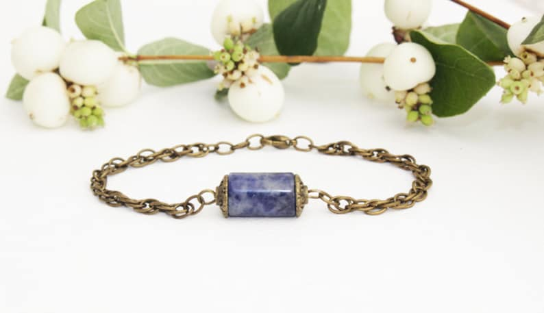 adjustable bracelet boho jewelry natural sodalite stone Sodalite bracelet geometric jewelry gemstone jewelry