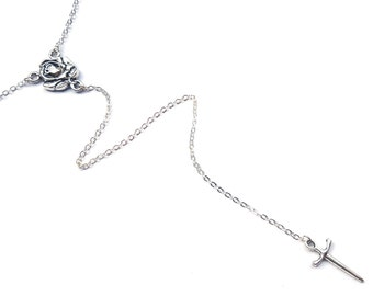Dagger Rosary Necklace Dagger Necklace Rose Lariat Necklace Rose Necklace Y Necklace Silver Drop Necklace Lariat Boho Chic Witchy Jewelry