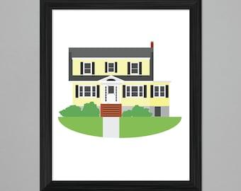 Custom House Portrait Illustration, 8x10 print