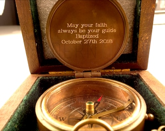 Christmas Gift, Baptized, Confirmed,Engraved compass with Plain Wooden box, Baptism, Confirmation Gift, Christening, Christmas gift