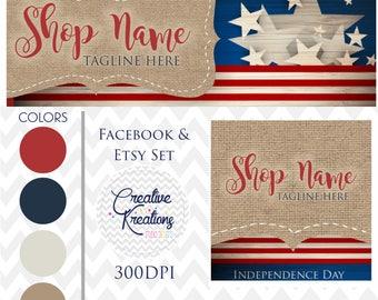 Timeline Banner 4th of July Flag USA Red White /& Blue Facebook Stars Facebook Cover Set Facebook Business Page Set Digital Files