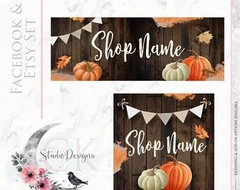 Digital Files Timeline Banner WATERCOLOR Fall Thanksgiving Wood Burlap Chalkboard Etsy Set Facebook Cover Set Facebook Business Page Set