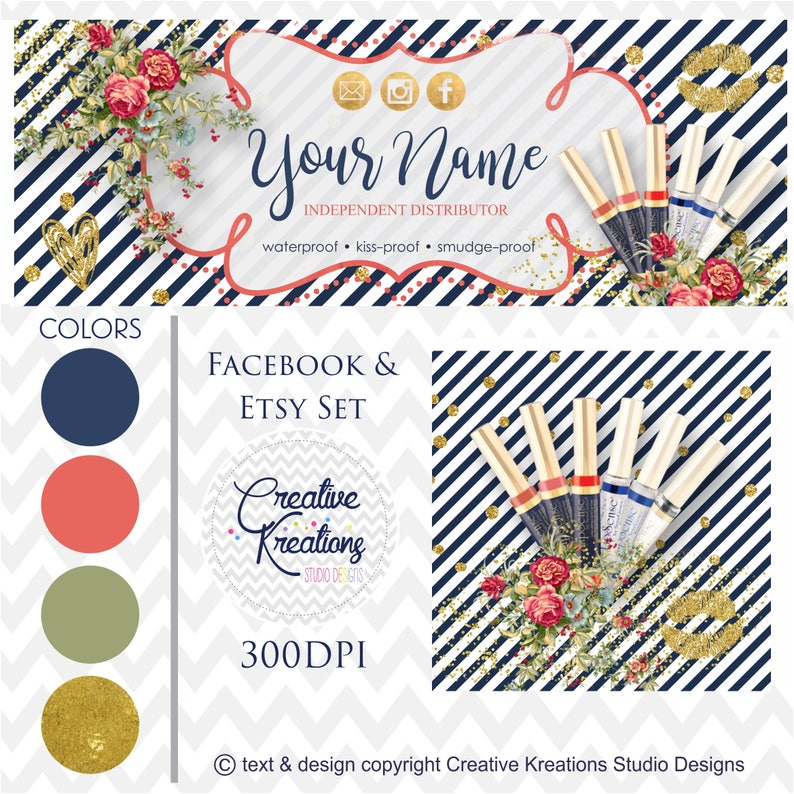 Navy Red & Gold Makeup Lipsense Facebook Cover Lipsense Facebook Banner  Lipsense Facebook Set LipSense Facebook Group Cover -Digital Files