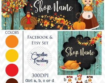 Timeline Banner Fall Thanksgiving Turkey Wood Chalkboard Etsy Set Facebook Cover Set Facebook Business Page Set - Digital Files