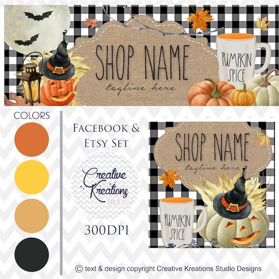 Timeline Banner WATERCOLOR Halloween Pumkin Fall Etsy Set Facebook Cover Set Facebook Business Page Digital Files