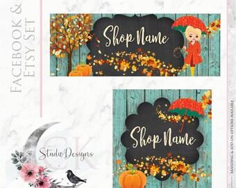 Timeline Banner Fall Thanksgiving Wood Chalkboard Etsy Set Facebook Cover Set Facebook Business Page Set - Digital Files