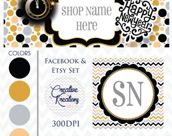 Timeline Banner Happy New Year Facebook Cover Set Facebook Business Page Set - Digital Files