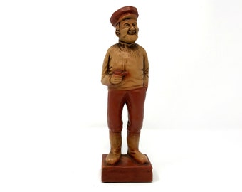 Fashion Style Vintage European Hand Made Carving Wood Male Figurine Antiques