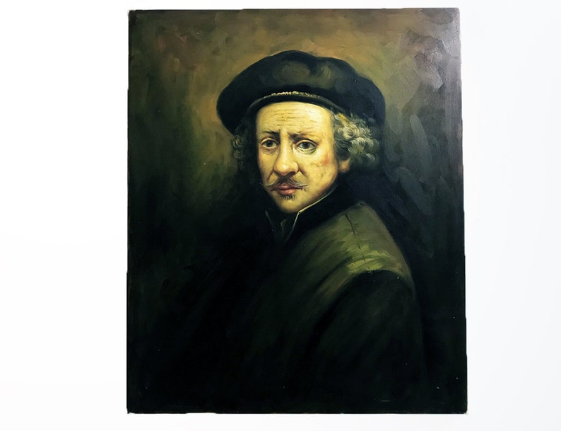 514c3ac29e591 Vintage Oil Portrait of Man in Beret Dutch Oil Portrait