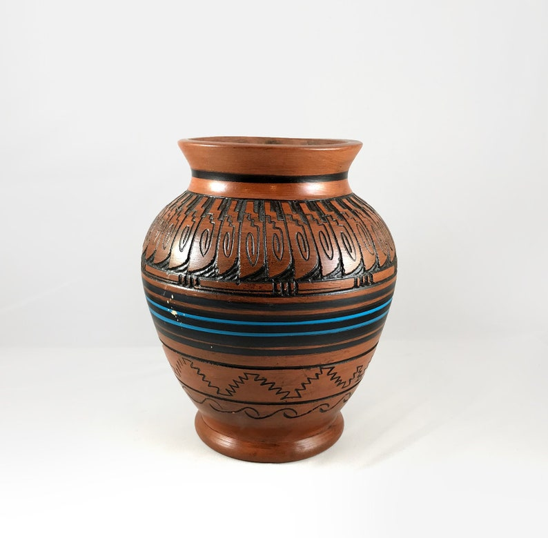 Etched Clay Pottery Hand Painted Native American Ceramics Geometric Signed by Artist Vintage Handmade Native American Navajo Pottery