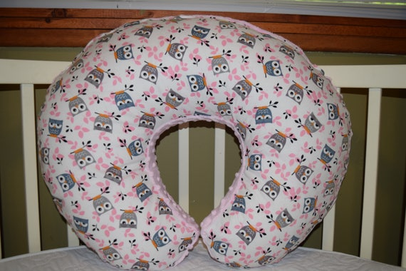 Boppy Pillow Cover Mw Pink Gray Owls Cotton Pink Minky Dot Etsy Interesting Minnie Mouse Boppy Pillow Cover