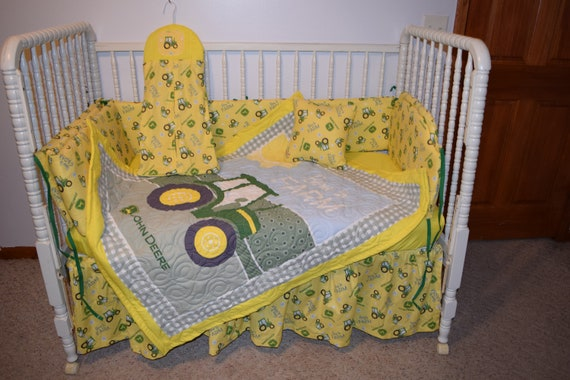 New Crib Bedding Set m/w John Deere Tractor Fabric by CutiePatootieBedding