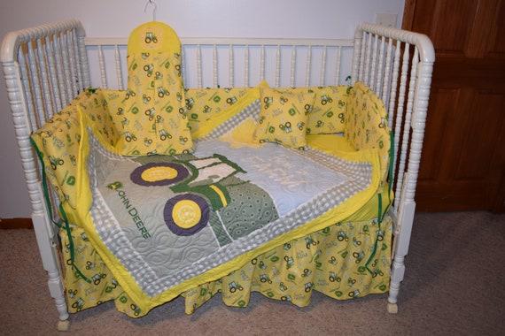 New Crib Bedding Set M W John Deere Tractor Fabric Etsy