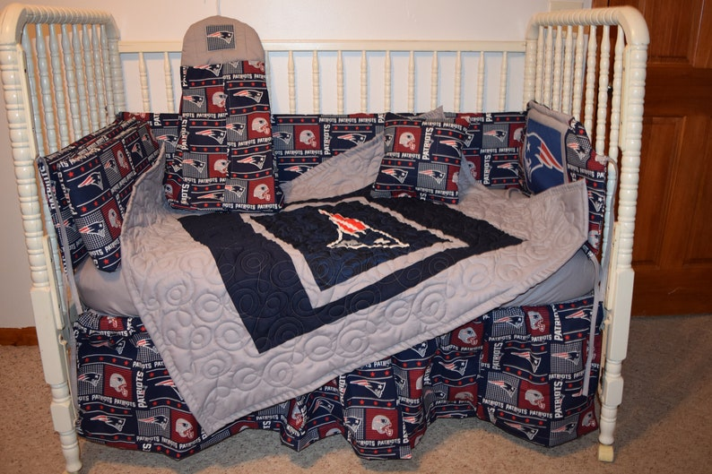 New England Patriots Custom Made Crib Set by Cutie Patootie Bedding