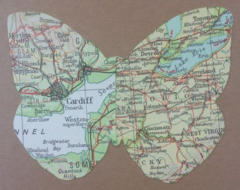 Butterfly Map Bon Voyage Card - Leaving Card - Atlas - Travel - Split two locations - Long Distance