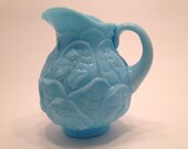 Vintage Fenton Pitcher Water Lily Pattern Blue Glaze Beautiful piece 7 inches Tall 1970S Gifts For Her
