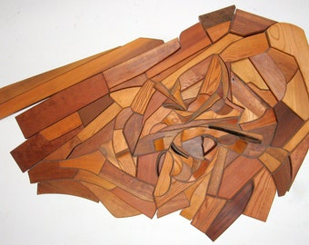Crucible. Mosaic Wood Wall Sculpture, 6 ft. w x 4 ft. h
