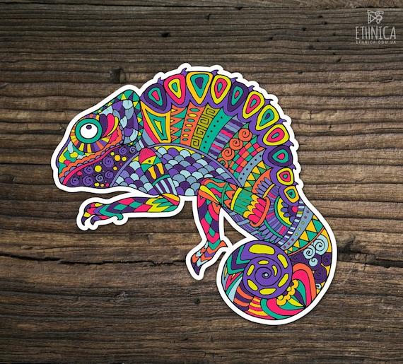 vinyl chameleon sticker rainbow lizard zentangle doodle etsy