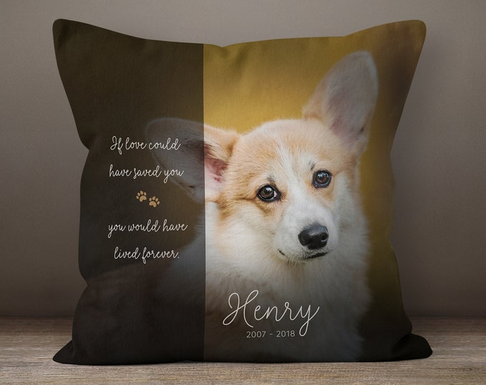 6f6a9d36bcf4 Custom Pet Pillow, Pet Memorial, Dog Mom Gift, Pet Loss Gift