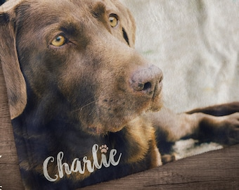 Personalized Dog Blanket, Pet Loss Gifts, Custom Photo Blanket, Dog Memorial Gift
