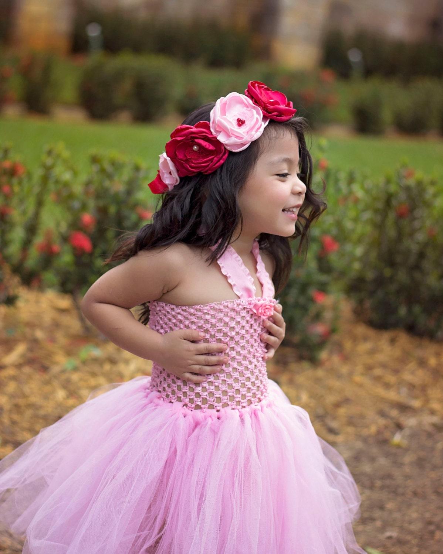 Red Pink Flower Crown Valentines Day Flower crown Flower