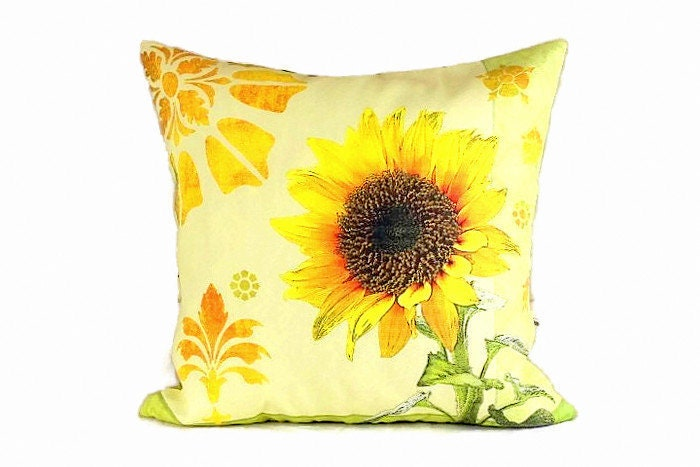 sunflower throw pillow covers 20x20 outdoor chair cushion etsy. Black Bedroom Furniture Sets. Home Design Ideas