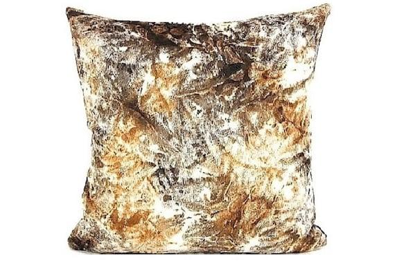 Hemp fur square throw pillow. Faux fur