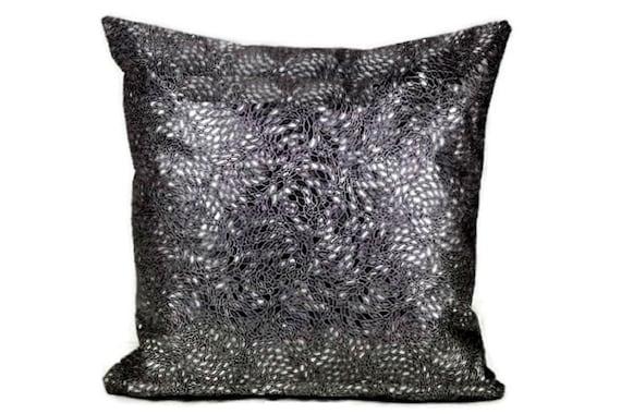 Metallic Faux Leather Throw Pillow