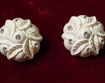 Lovely, 50's, white celluloid, clip earrings with clear rhinestones!