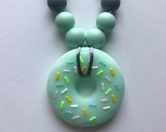 Chompy Kids Donut Necklace- Mint