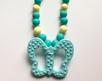 Chompy Butterfly Pendant Necklace-Medium Turquoise