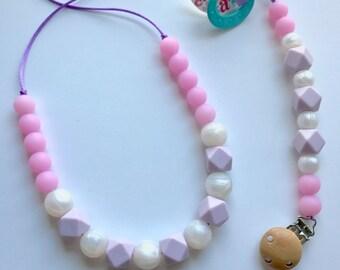 Chic Silicone Hexagon Necklace & Paci Clip Set-Lavender