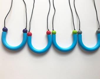 Chompy Sensory Tube Necklace-Blue
