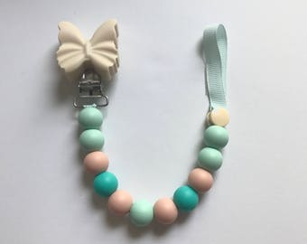 Chompy Paci Clip With Butterfly-Ivory