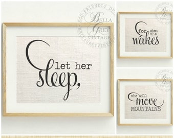 Let Her Sleep For When She Wakes She Will Move Mountains - Linen Cotton Burlap Art Print Set Nursery Decor Baby Shower Girl - Shakespeare