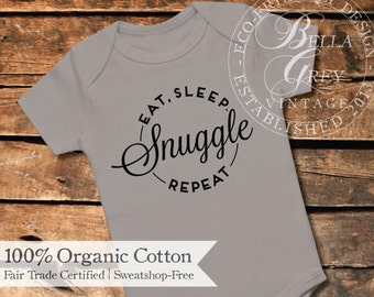 Eat, Sleep, Snuggle, Repeat - Organic Cotton Knit Baby Onesie - Hipster Baby Gift - Gender Neutral Baby Shower Gift Boy Girl Unisex Infant