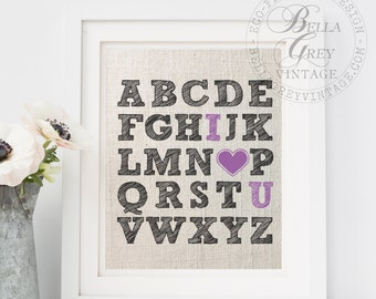 Alphabet ABC I Love You - Linen Cotton Burlap Sign Art Print - Nursery Decor Baby Shower - Anniversary Gift - Baby Room - Valentine's Day